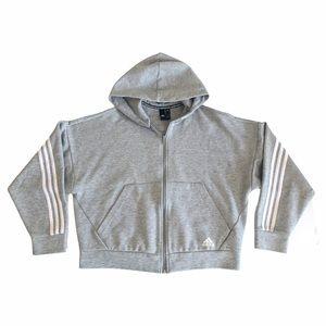 Adidas Grey Crop Striped Hooded Zip Up Jacket